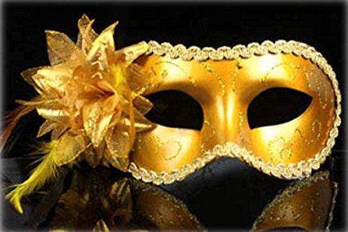 (Inception Pro Infinite Maske - Goldfarbe - Karneval - Halloween - Venetian - Frau - Dekorationen - Stoff - Glitter - Frau)