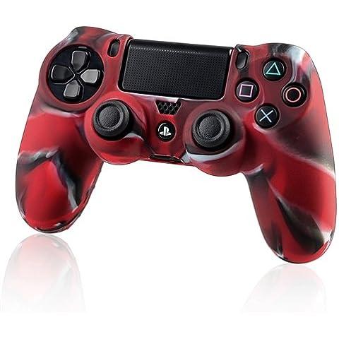 Funda protectora de silicona para Sony Playstation 4 PS4 controlador - camuflaje Rojo