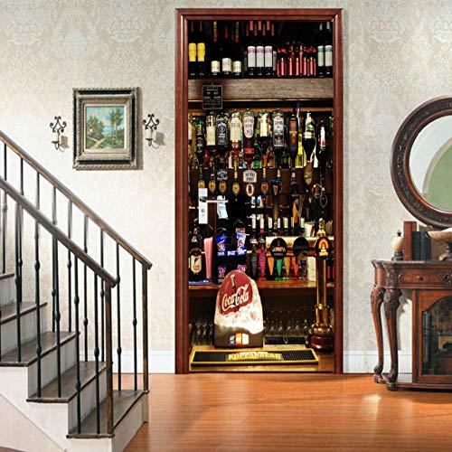 Türtapete Türbild Aufkleber Pvc Selbstklebend Europäische Flaschen-Sammlung Des Rotwein-3D Tapete Fototapete Türposter Türtapeten 95(B) X210(H)