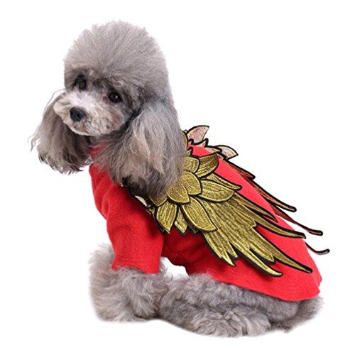 Yuncai Lustige Halloween Haustier Hund Flügel Kleidung Warm Weihnachten Verkleiden Sich Party Kostüm für Katze Rot (Flügel Mit Katze Kostüm)