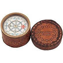 "Store Indya, Laton de la vendimia 2"" Accesorios / Escritorio Opera Glass Doland Londres Pocket Compass coleccionables / Oficina"