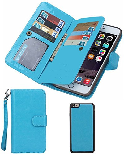 Prime Day Deals Week Sale 2018-Valentoria® For iPhone 5/5s Wallet Case,Valentoria® Leather Magnetic Detachable Slim Back Cover Card Holder Slot Wrist Strap Case(iPhone 5S/5G/SE, Turquoise)