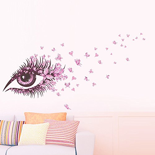 Aufkleber rosa schmetterling wohnzimmer wanddekoration persönlichkeit aufkleber rosa schmetterling großen augen