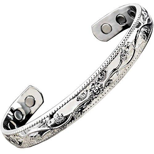 """Damen Magnetisches Armband für Schmerzlinderung Kupfer Armband für Frauen Arthritis Karpaltunnelsyndrom Gemeinsame Handgelenk Magnet Gesundheit Armband Silber toned-sf, S/M: Wrist 15-18.5cm/6-7.5"""""""