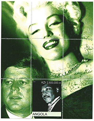 Legenden des 20. Jahrhunderts, mit Martin Luther King, John F. Kennedy und Marilyn Monroe. Das Blatt hat eine Briefmarke/MNH/Angola -