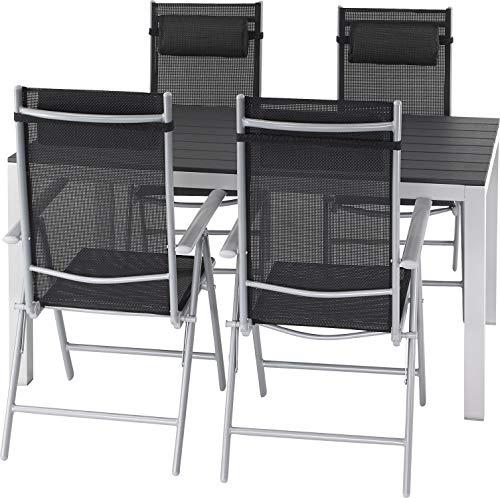 ib style®Polywood Gartengarnitur   Tisch+ 4X Klappstuhl Jamaica  pflegeleicht und witterungsbeständig   Tisch: 150x90cm - Polywood Klappstuhl