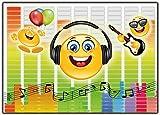 Einladungskarte Smiley Emoji Musik im Set Einladung Kindergeburtstag Geburtstagseinladung Lustig witzig 12 Stück ausgefallen Luftballons bunt Brille Gitarre Emojis Vorlagen Karten
