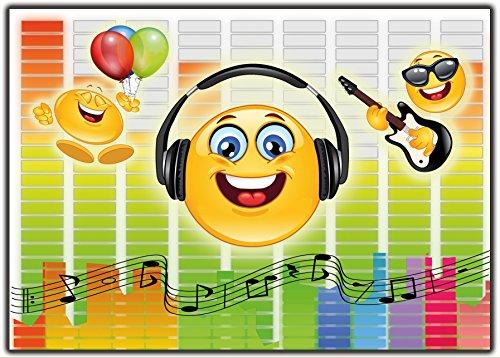 Preisvergleich Produktbild Einladungskarte Smiley Emoji Musik im Set Einladung Kindergeburtstag Geburtstagseinladung Lustig witzig 12 Stück ausgefallen Luftballons bunt Brille Gitarre Emojis Vorlagen Karten