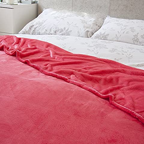 Sensio Home Super Soft Fluffy Fleece Throw Blanket [200 x 200 cm] Brightens Up Your Couch, Sofa or Bed with Three Vibrant Colors to Choose From (Rose Red)