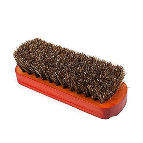 LnLyin Professional Boot Shine Buffing Brush Horsehair Wooden Handle Shoes