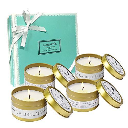 LA BELLEFÉE Duftkerze Sojawachs Kerze Aromatherapie Geschenkset für Hochzeiten, Party und Dekorationen für Zuhause (4 x 90g) -
