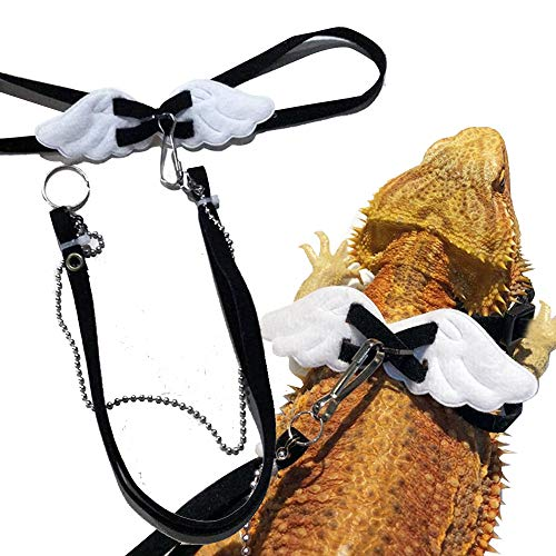 Verstellbare Geschirr Klein Urijk Einstellbare Reptile Eidechsen Geschirre Leine Ledergeschirr-Leine mit Flügeln Zugseil Bartagamen Zubehör 1 Stück