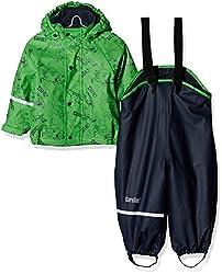 CareTec Kinder wasserdichte Regenlatzhose und -jacke im Set (verschiedene Farben), Grün (Green 974), 104