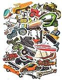 Top Stickers !  Lot de 50 Stickers Engins - Autocollant HD - Voitures, Camions, Tracteurs, Hélicoptères, Avions, Tank, Trains, Moto, Quad, Machines, Style, Cool, Bomb - Scrapbooking (#50-ENGINS)