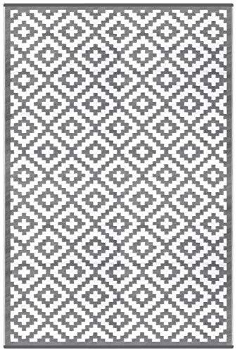 Green Decore Tapis d'Intérieur et d'Extérieur Réversible en Plastique Recyclé, Indoor/Outdoor Tapis Écologique Léger - 180 x 270 cm Gris/Blanc