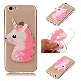 xifanzi Weich Silikon Hülle für Apple iPhone 6 Plus & iPhone 6S Plus 3D Einhorn Design TPU Durchsichtig Zurück Bumper Glänzen Schutzhülle für iPhone 6 Plus/ 6S Plus Rosa Flexible Etui Transparent Weiche Ultra Schlank Clear Back Case Klar Hülse Gummi Dünn HandyTasche Handyhülle für Apple iPhone 6 Plus/ iPhone 6S Plus(5,5 Zoll)