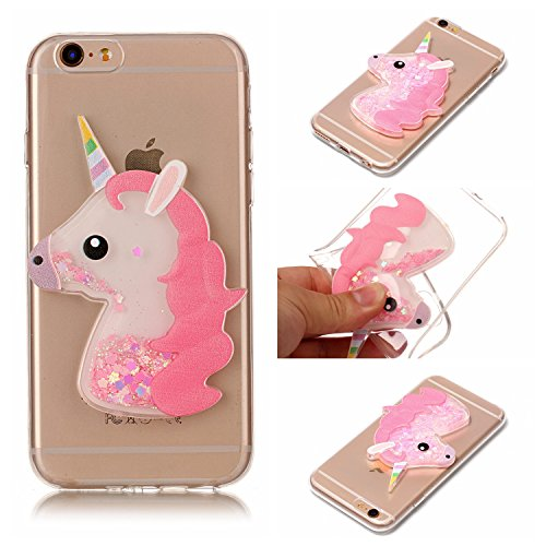Xifanzi Weich Silikon Hülle für Apple iPhone6 & iPhone 6S 3D Einhorn Design TPU Durchsichtig Zurück Bumper Glänzen Schutzhülle Rosa Flexible Etui Transparent Weiche Ultra Schlank Clear Back Case (Iphone6 Bling Fällen)