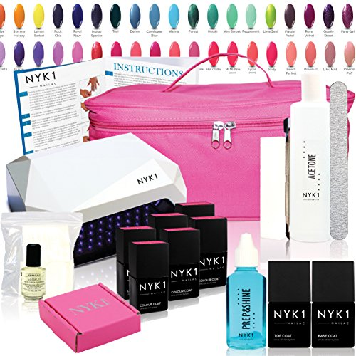 NYK1 LED Nail Gel Polish Kit ESSENTIALS with ANY 6 Colours. FULL LED GEL NAIL STARTER KIT - with Acetone Remover, Top Coat & Base Coat Included - 100's of Shellac Colours to choose from