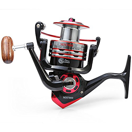 Starke Korrosion Metall Spule Spinning Fishing Reel, ticar klappbare Arm Shamballa Bearing 5,2: 1, schwarz, 7000 (Ice Fishing Spinning Rod)