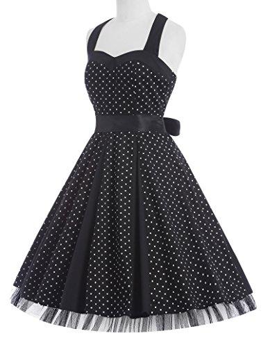 GRACE KARIN® Damen 50s Vintage Rockabilly Kleid Neckholder Kleid Partykleider CL006090-1