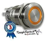 .drivezero. ToughSwitch '19 – Schalter Edelstahl (bis 230V / 5A) mit LED-Leuchtring Orange 230V, staub- und wasserdicht (IP67)