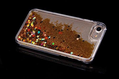 iPhone 7 Hülle,SainCat Kreativ Weinglas Design 3D Transparent Soft Silikon Hülle Case Dynamisch Heart-shaped Sanduhr Treibsand Liquid Fließen Flüssig Schwimmend Tasche Handyhülle Glitter Glitzer Spark Stars-Golden