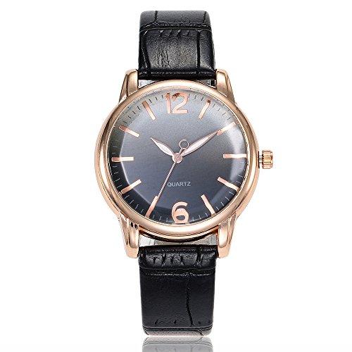 Armbanduhr männer Liusdh Uhren Mode einfache Textur Leaderband Uhr Damenuhr Quarzlegierung Uhr(Black,Einheitsgröße)