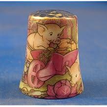 Porcelana China Coleccionable de dedal Piggy en carretilla de oro Top