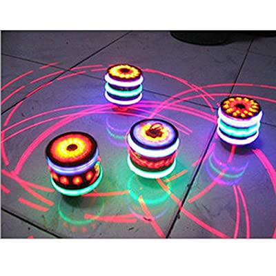 FomCcu 1Pc Magic Music Spinning Tops Gyroscope with Colorful Flash Light-emitting Red Laser Line Gift for Boys Children Kids Girls