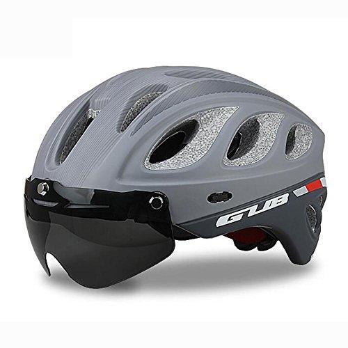 MIAO Fahrradhelm - Outdoor Männlich und weiblich Road / Mountain Bike Helm Reiten Schutzausrüstung mit Schutzbrille , black