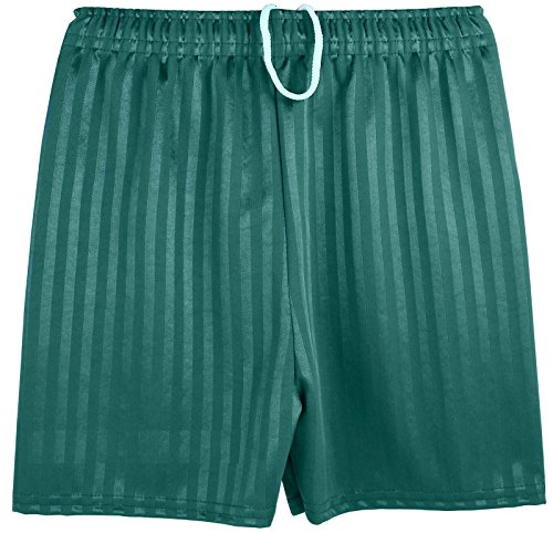 Boys Girls Unisex Shadow Stripe Gym Sports Football Games School PE Shorts (Medium (5-6 Years), Bottle Green)