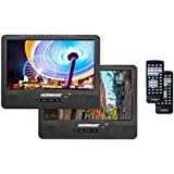 "Koramzi Portable 9"" Dual Screen Dual DVD Player with Rechargeable Battery / USB SD Card Reader / Remote Control / Car Adapter / IR Transmitter Ready / Headrest Mounting Kit (Black)-PDVD-2DVDS95"
