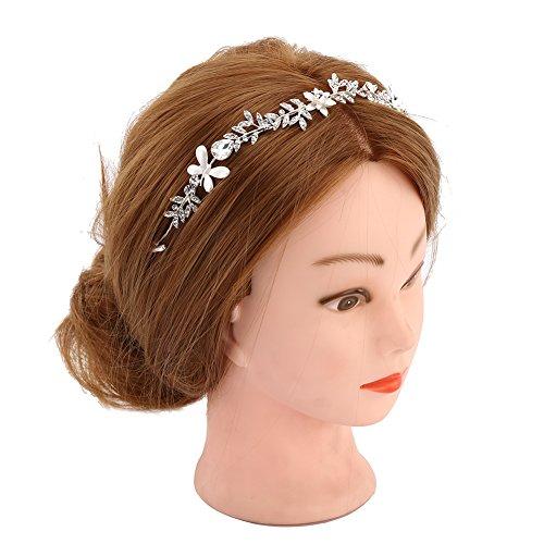 KimmyKu Perlen Diadem Braut Vintage Strass Haarband Haarschmuck für Hochzeit Party Fascinator -