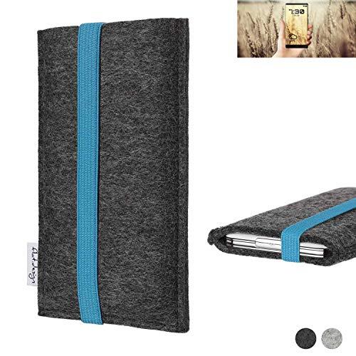 flat.design Handy Tasche Coimbra für Allview X4 Soul Infinity N - Schutz Case Tasche Filz Made in Germany anthrazit türkis
