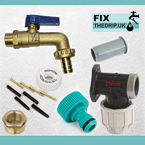 FixtheBog 25 mm irrigation mdpe Kit pour robinet extérieur jardin avec plaque murale en plastique et raccord tuyau à levier