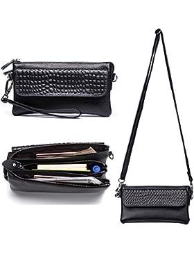 Belfen® Soft Leather Women Smartphone Wristlet Cross body Wallet Clutch with credit card slots/Shoulder strap/...