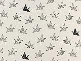 Dekostoff Origami Kranich, natur, Meterware ab 0,5 m