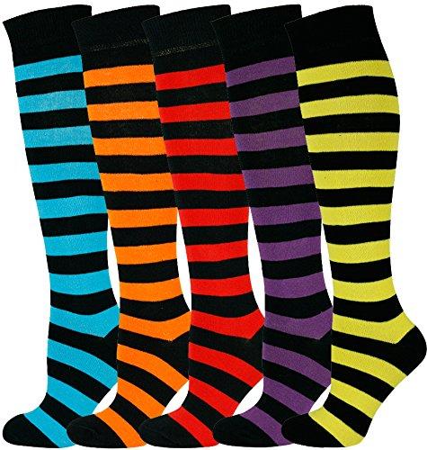 Mysocks® Knie hoch Socken Streifen Multi 506 (Multi-stripe Knee Socke)