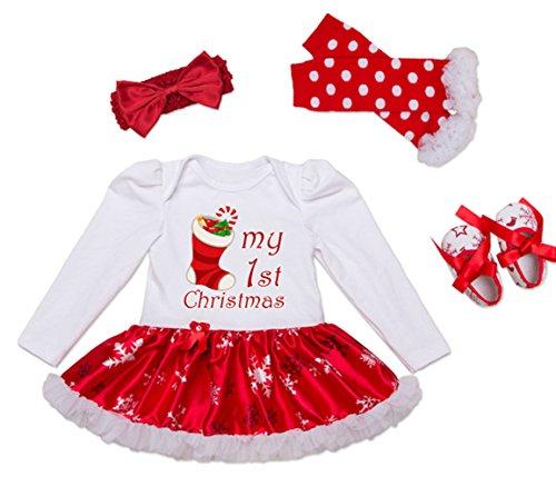 (DecStore Baby Girls Mein erster Weihnachtskostüm Party Kleid Tutu Kleidung 4PCS Set(Christmas Sock S))