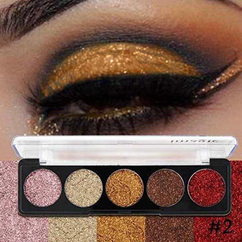 Pallette Fards à Paupière, Moonuy 5 couleurs chatoyantes Glitter Eye Shadow palette de poudre Matte High pigment fard à paupières maquillage Eye cosmétiques (B)