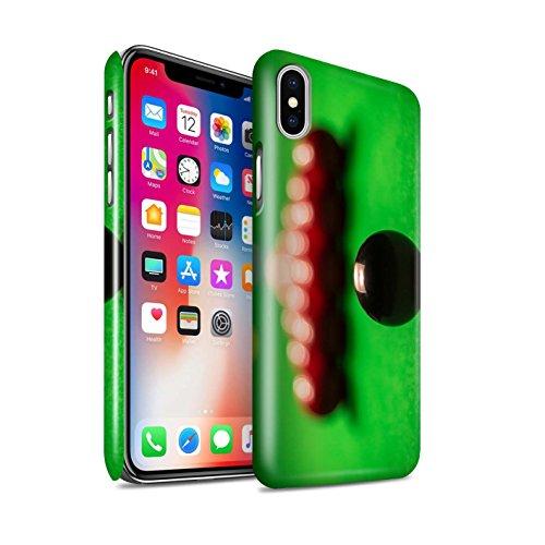 STUFF4 Glanz Snap-On Hülle / Case für Apple iPhone X/10 / Rote Kugel/Kreide Muster / Snooker Kollektion Schwarze Kugel/Rack