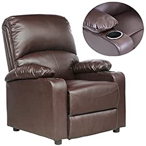 More4Homes Reclining Home Cinema Lounge Kino Leather Recliner with Drink Holders Armchair Sofa Chair, Brown