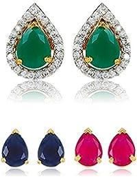 Bandish Interchangeable Multicolour Gold Plated Tear-Drop Shaped Stud 3 In 1 American Diamond Earrings