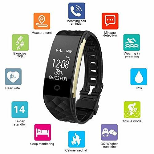 Fitness Armband Smarter, Fitness Smart Watch, Fitness Tracker Wasserdichte Bluetooth 4.0 OLED Touch Screen Activity Tracker Smart Watch mit Herzfrequenz und Schlaf Monitor für Android und IOS JUS2 schwarz
