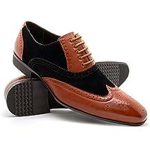 London Footwear Pablo - Zapatos Oxford de cuero calado para hombre