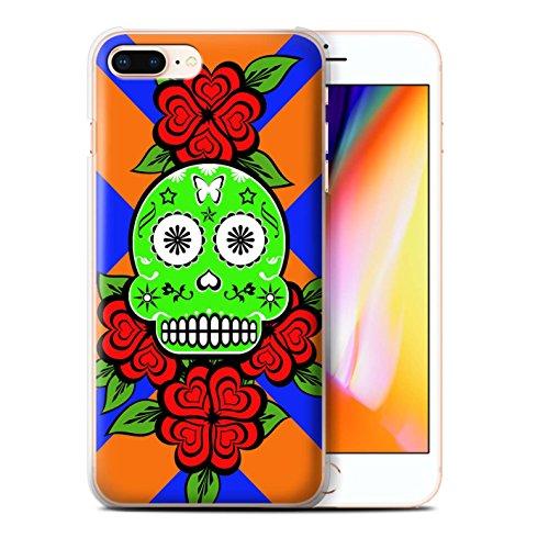 Stuff4 Hülle / Case für Apple iPhone 8 Plus / Grün/Rose Muster / Süßigkeiten Schädel Kollektion Grün/Rose