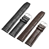 Ritche 2pc 20mm Replacement Calf Leather Strap Crocodile Grain Watch Band Accessories - Brown and Black
