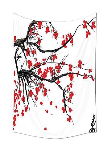 House Decor Gobelin Sakura Kirschblüte Japanische Cherry Tree Summertime Vintage Kulturelle Artwork Wanddekoration für Schlafzimmer Wohnzimmer Wohnheim ES rot und schwarz, multi, 24W By 36L Inch (Twin-schwarz-holz-bett)