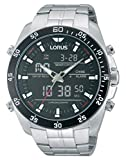 Lorus Watches Gent's Silver Steel Alarm Chronograph Watch With Black Dial