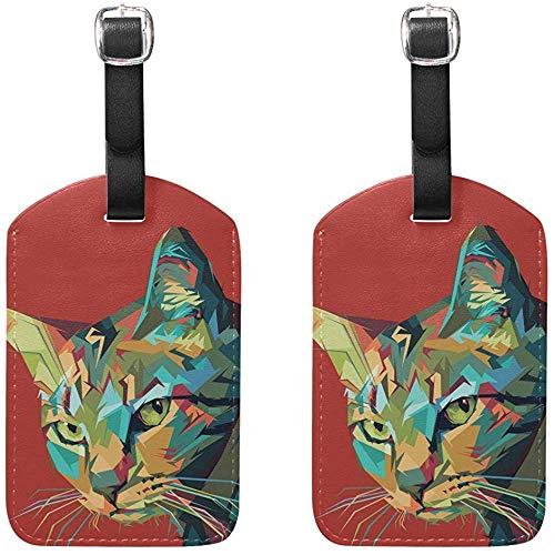 Katze Pop Art Portrait Gepäckanhänger Tasche Reiseetiketten für Gepäck Koffer 2PCS -